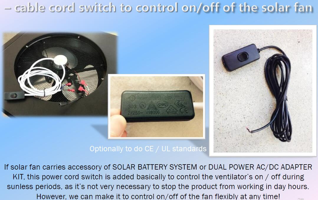 power cord for solar attic fan