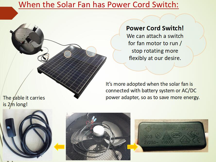 Power cord for solar gable fan